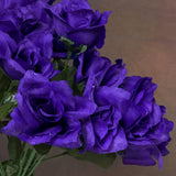 84 Artificial Silk Open Roses Wedding Flower Bouquet Centerpiece Decor - Purple