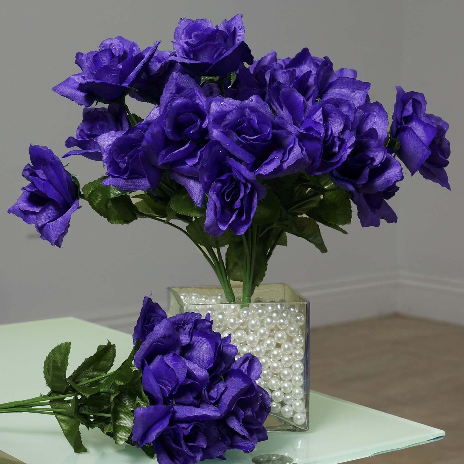 12 Bushes 84 Pcs Purple Artificial Silk Rose Flowers With Green