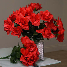 84 Artificial Silk Open Roses Wedding Flower Bouquet Centerpiece Decor - Red