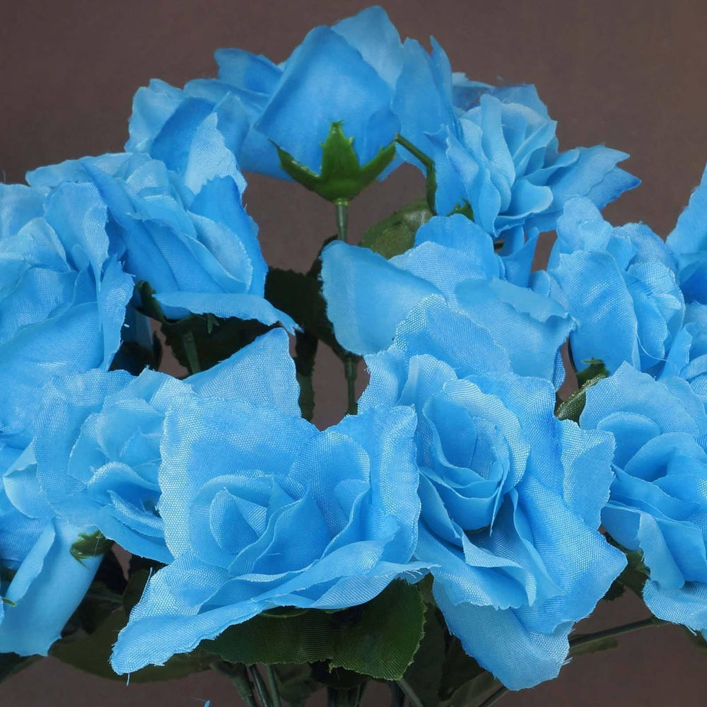 12 Bushes 84 pcs Turquoise Artificial Silk Rose Flowers With Green ...