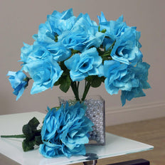 84 Artificial Silk Open Roses Wedding Flower Bouquet Centerpiece Decor - Turquoise