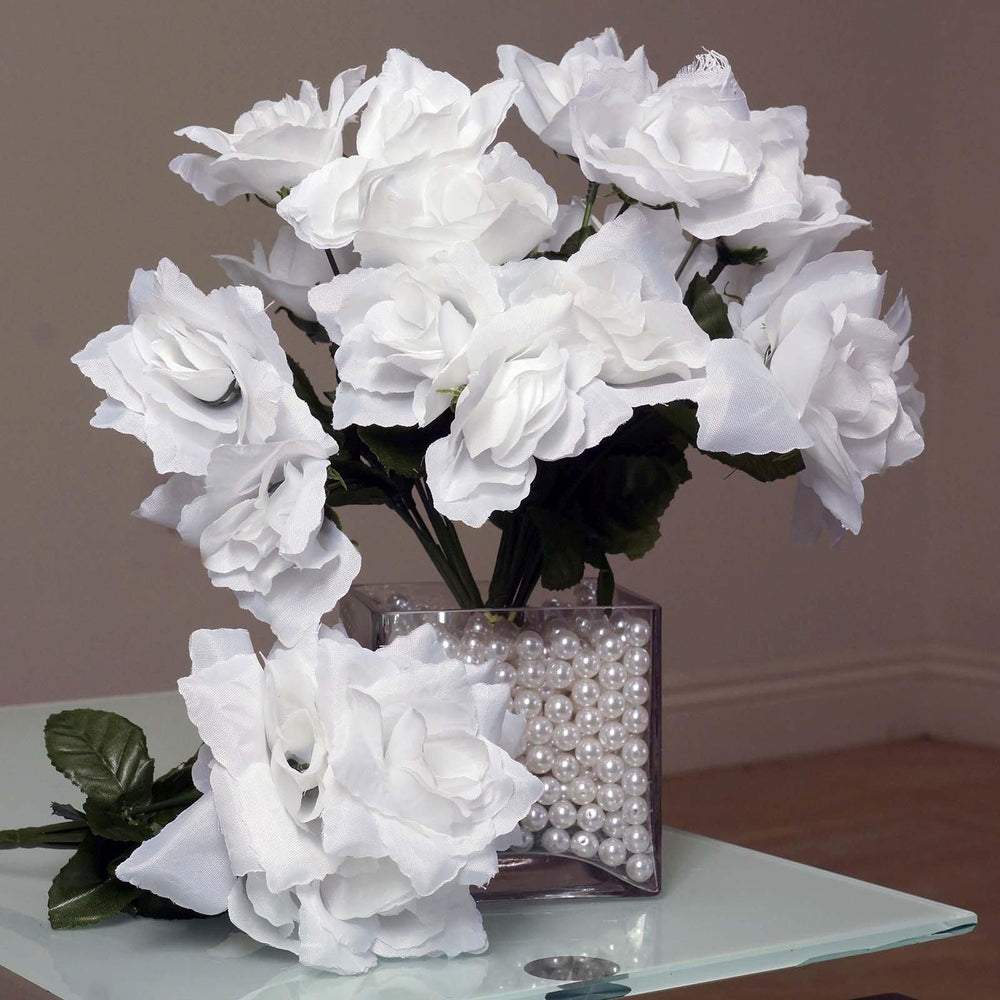White 12 Bushes With 84 Artificial Silk Open Rose Flowers Wedding ...