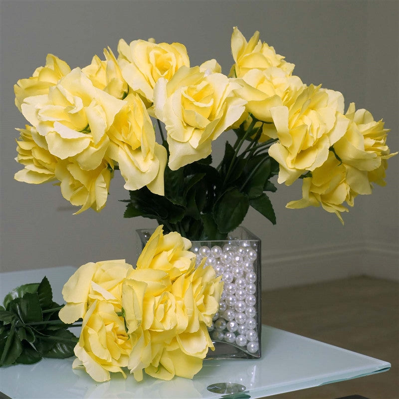 Yellow 12 bushes with 84 artificial silk open rose flowers wedding 84 artificial silk open roses wedding flower bouquet centerpiece decor yellow mightylinksfo