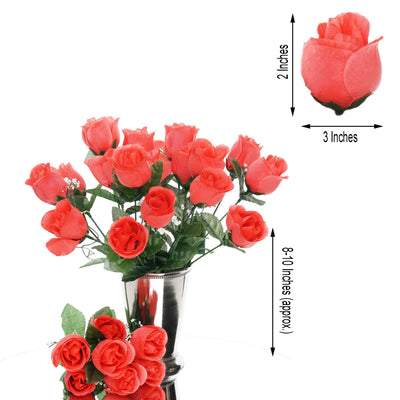 12 Bush Coral 84 Rose Buds Real Touch Artificial Silk Flowers