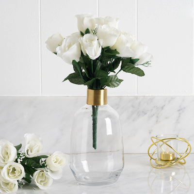 12 Bush Cream 84 Rose Buds Real Touch Artificial Silk Flowers
