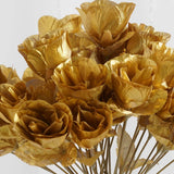12 Bush Gold 84 Rose Buds Real Touch Artificial Silk Flowers