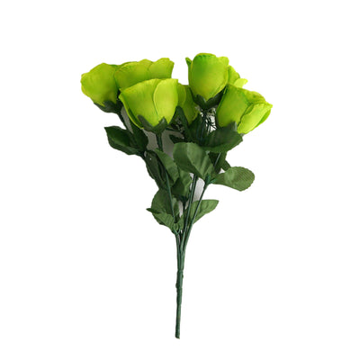 12 Bush 84 Pcs Lime Artificial Silk Rose Bud Flowers