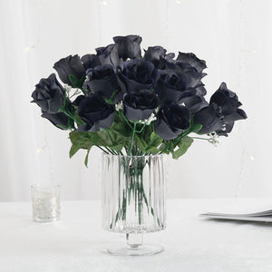 12 Bush Navy Blue 84 Rose Buds Real Touch Artificial Silk Flowers
