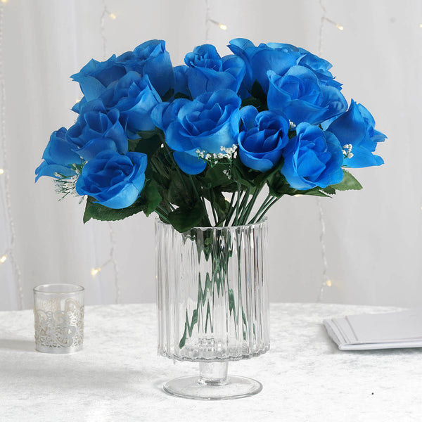 12 Bush Sky Blue 84 Rose Buds Real Touch Silk Artificial Roses Wholesale