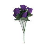 12 Bush Purple 84 Rose Buds Real Touch Artificial Silk Flowers