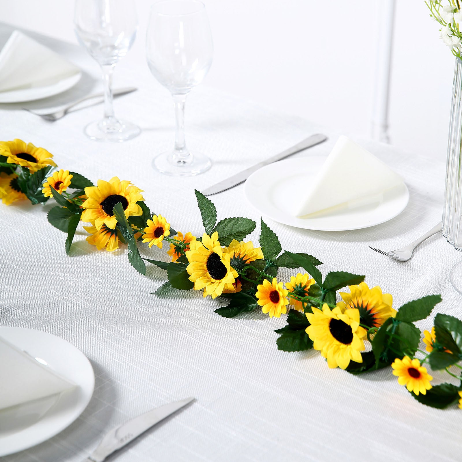 6 Ft Yellow UV Protected Sunflower Chain Artificial Flower Garland ...