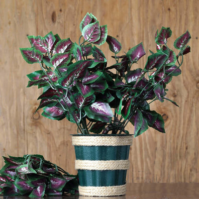 4 Pack Green/Purple UV Protected Artificial IVY Coleus Leaf Bushes