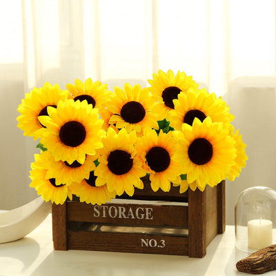 5 Bushes | 45 Yellow Large Artificial Sunflowers | Full Bloomed Silk Sunflowers
