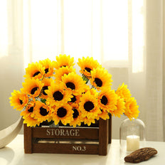 5 Bushes | 70 Artificial Yellow Silk Sunflowers Vase Centerpiece Decor