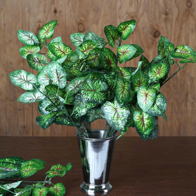 4 Artificial IVY Calladium Leaf Green Bushes For Wedding Vase Centerpiece Décor -Green/Red