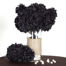 56 Artificial Silk Chrysanthemum Wedding Flower Bush Vase Centerpiece Decor - Black