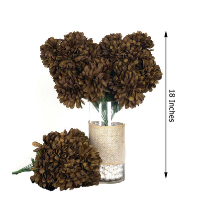 4 Bushes | 56 Pcs | Chocolate | Artificial Silk Chrysanthemum Flowers - Clearance SALE