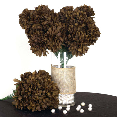 56 Artificial Silk Chrysanthemum Wedding Flower Bush Vase Centerpiece Decor - Chocolate