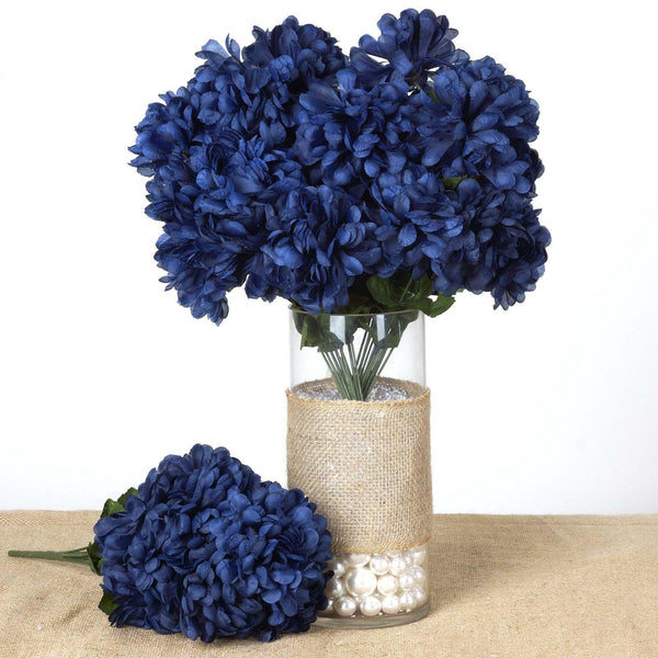 4 Bush 56 pcs Navy Blue Artificial Silk Chrysanthemum Flowers - Clearance SALE