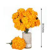4 Bush 56 pcs Orange Artificial Silk Chrysanthemum Flowers