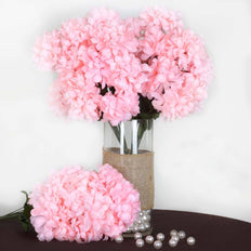 56 Artificial Silk Chrysanthemum Wedding Flower Bush Vase Centerpiece Decor - Pink