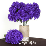 56 Artificial Silk Chrysanthemum Wedding Flower Bush Vase Centerpiece Decor - Purple