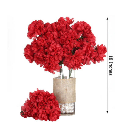 4 Bush 56 pcs Red Artificial Silk Chrysanthemum Flowers - Clearance SALE