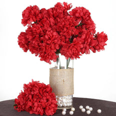 56 Artificial Silk Chrysanthemum Wedding Flower Bush Vase Centerpiece Decor - Red