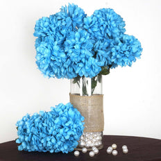 56 Artificial Silk Chrysanthemum Wedding Flower Bush Vase Centerpiece Decor - Turquoise
