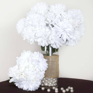 56 Artificial Silk Chrysanthemum Wedding Flower Bush Vase Centerpiece Decor - White