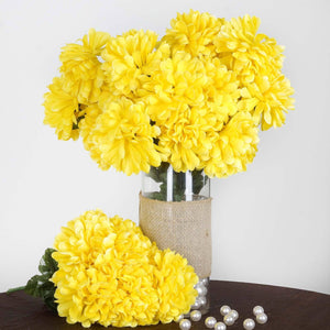 56 Artificial Silk Chrysanthemum Wedding Flower Bush Vase Centerpiece Decor - Yellow