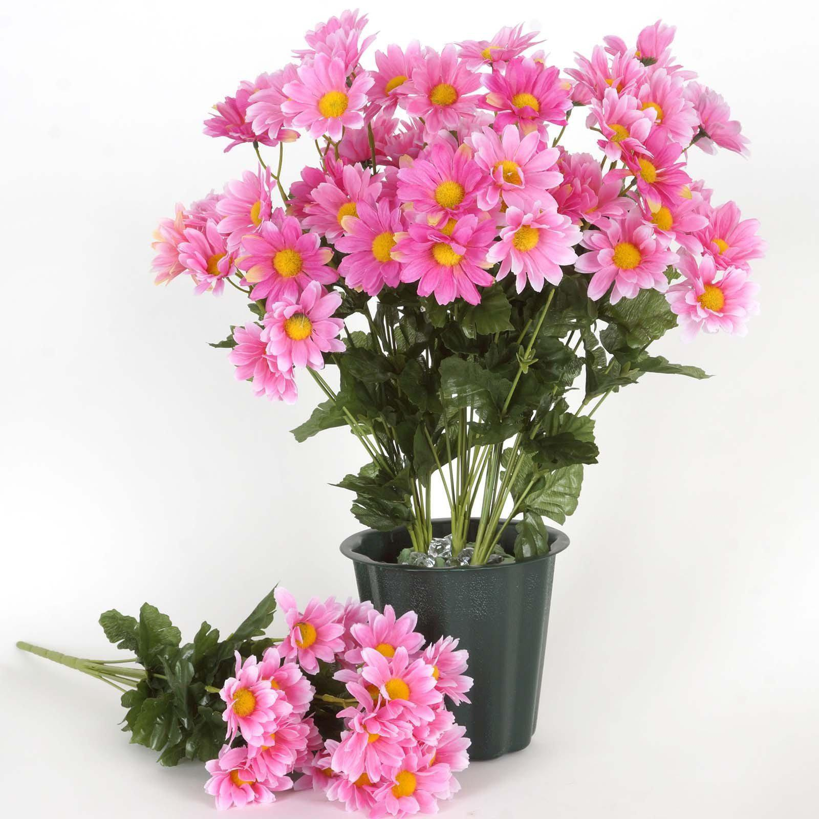 4 Pack 88 Pcs Pink Artificial Silk Daisy Flowers Wedding Vase