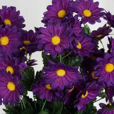 88 Wholesale Artificial Silk Daisy Wedding Vase Centerpiece Floral Decor - Purple