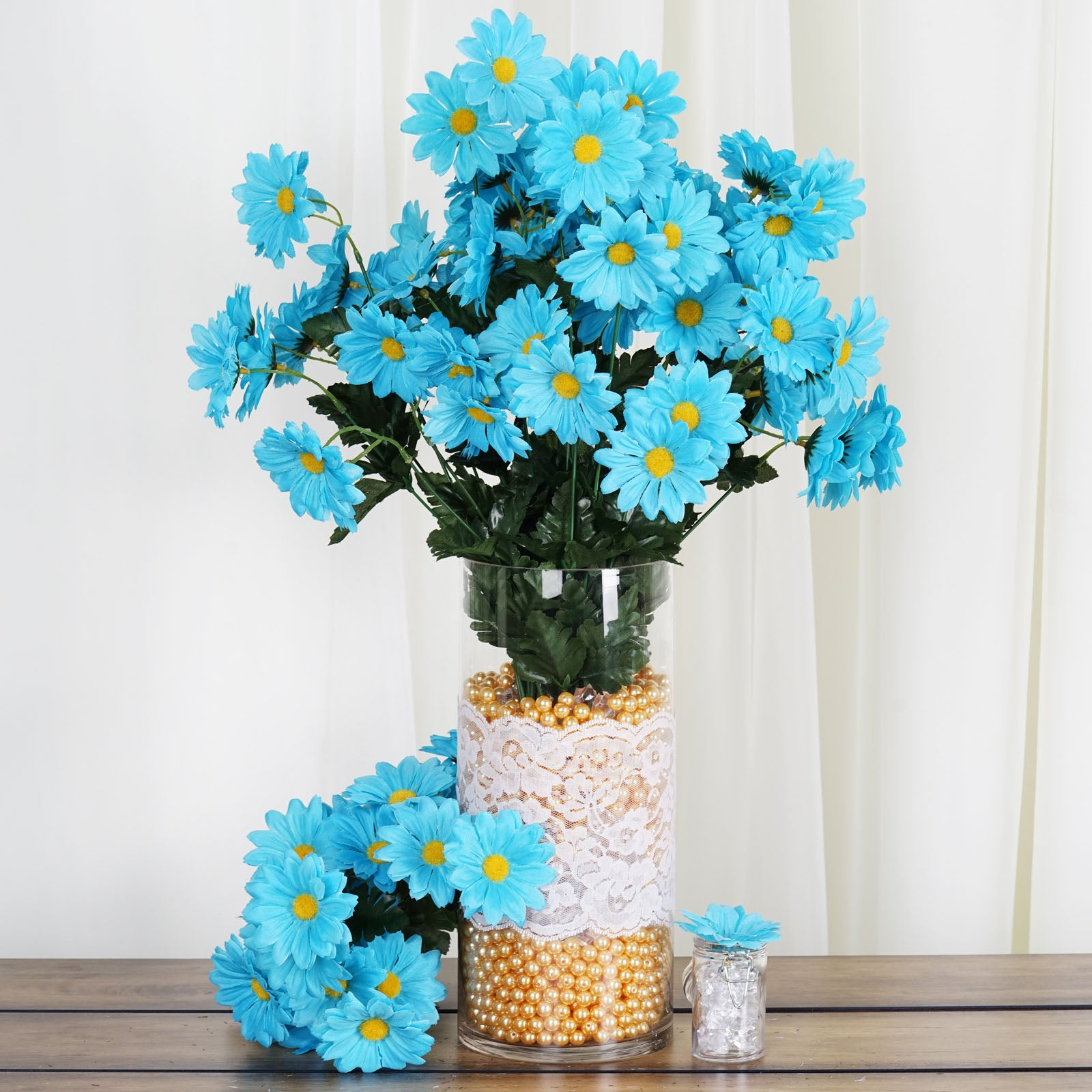 4 Pack 88 Pcs Turquoise Artificial Silk Daisy Flowers Wedding Vase