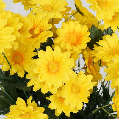 88 Wholesale Artificial Silk Daisy Wedding Vase Centerpiece Floral Decor - Yellow