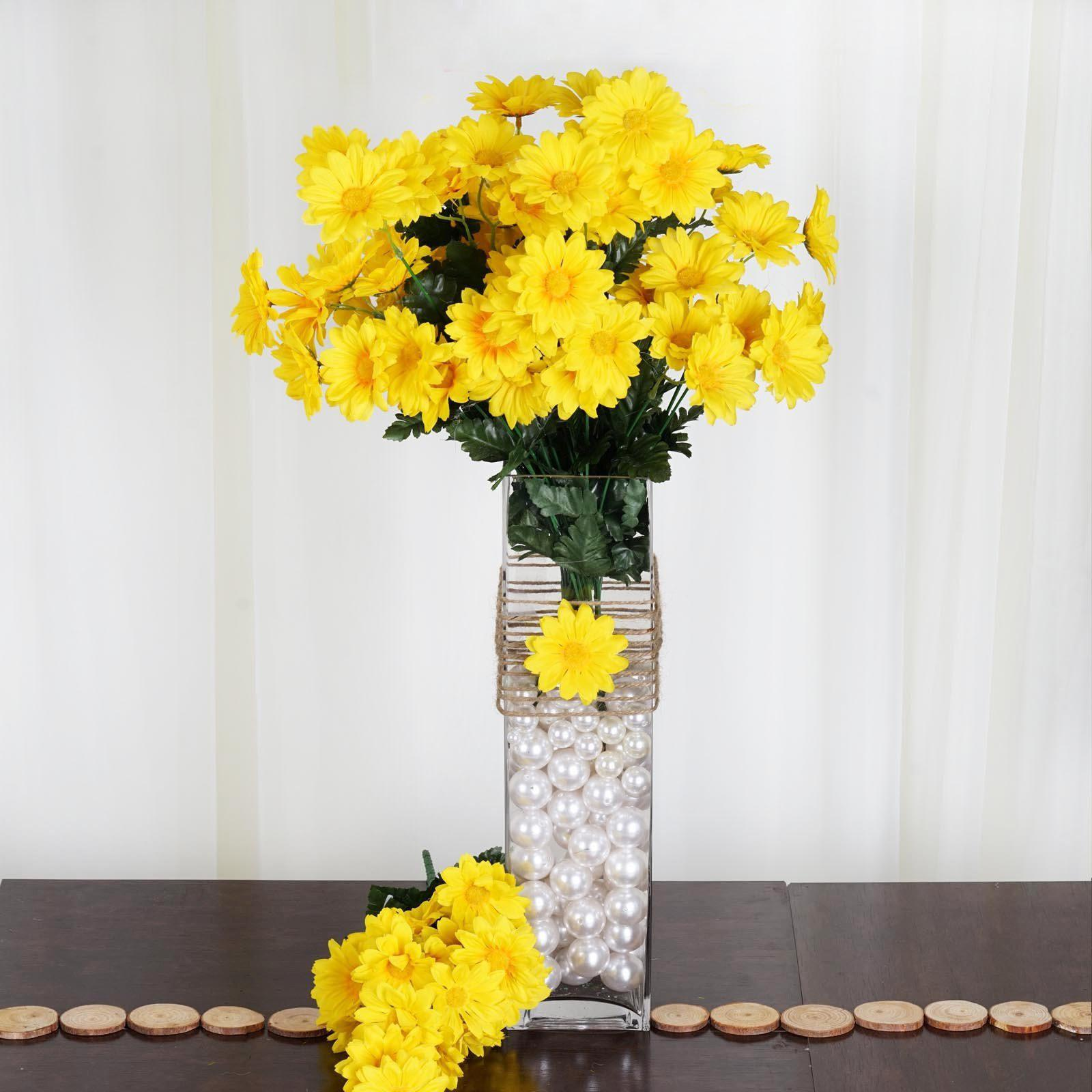4 Pack 88 Pcs Yellow Artificial Silk Daisy Flowers Wedding Vase