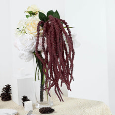 2 Pack | 32 inch Burgundy Amaranthus Artificial Flower Stem With Ivy Leaves
