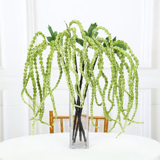 "2 Pack | 36"" Green Amaranthus Artificial Flower Stem With Ivy Leaves"