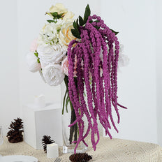 2 Pack | 36 inch Lavender Amaranthus Artificial Flower Stem With Ivy Leaves