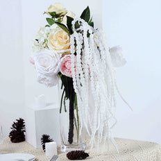 2 Pack | 36 inch White Amaranthus Artificial Flower Stem With Ivy Leaves