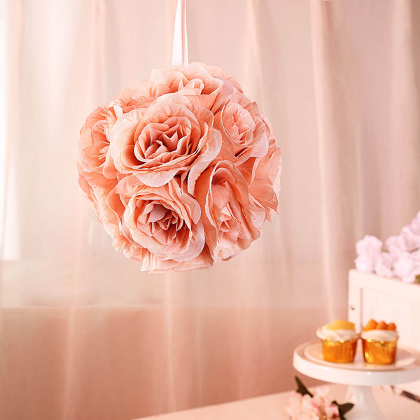 "2 Pack | 7"" Dusty Rose Flower Ball Silk Rose Pomander Kissing Ball"