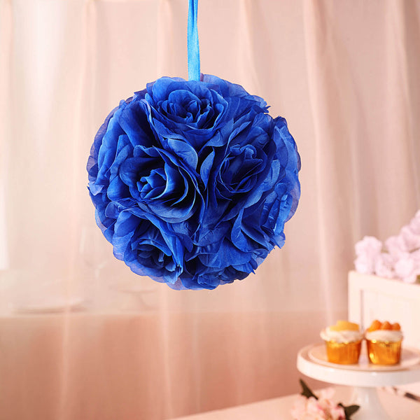 "2 Pack | 7"" Royal Blue Flower Ball Silk Rose Pomander Kissing Ball"