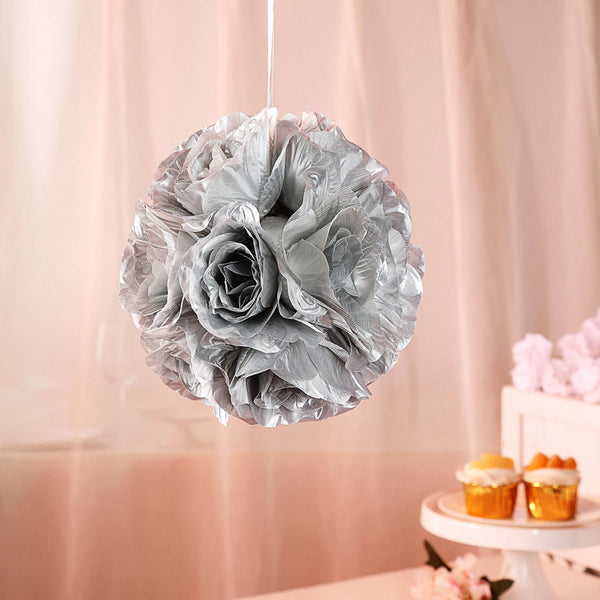 "2 Pack | 7"" Silver Flower Ball Silk Rose Pomander Kissing Ball"