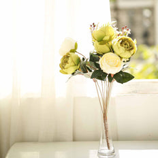 2 Bushes | 14 Pcs Green/Ivory Peony Artificial Silk Flower Bouquets