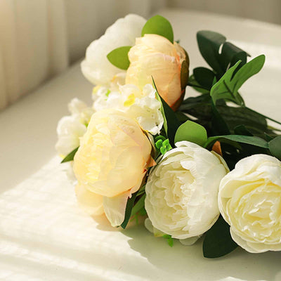 2 Bushes Light Yellow/White Peony And Hydrangea Artificial Silk Flower Bouquets