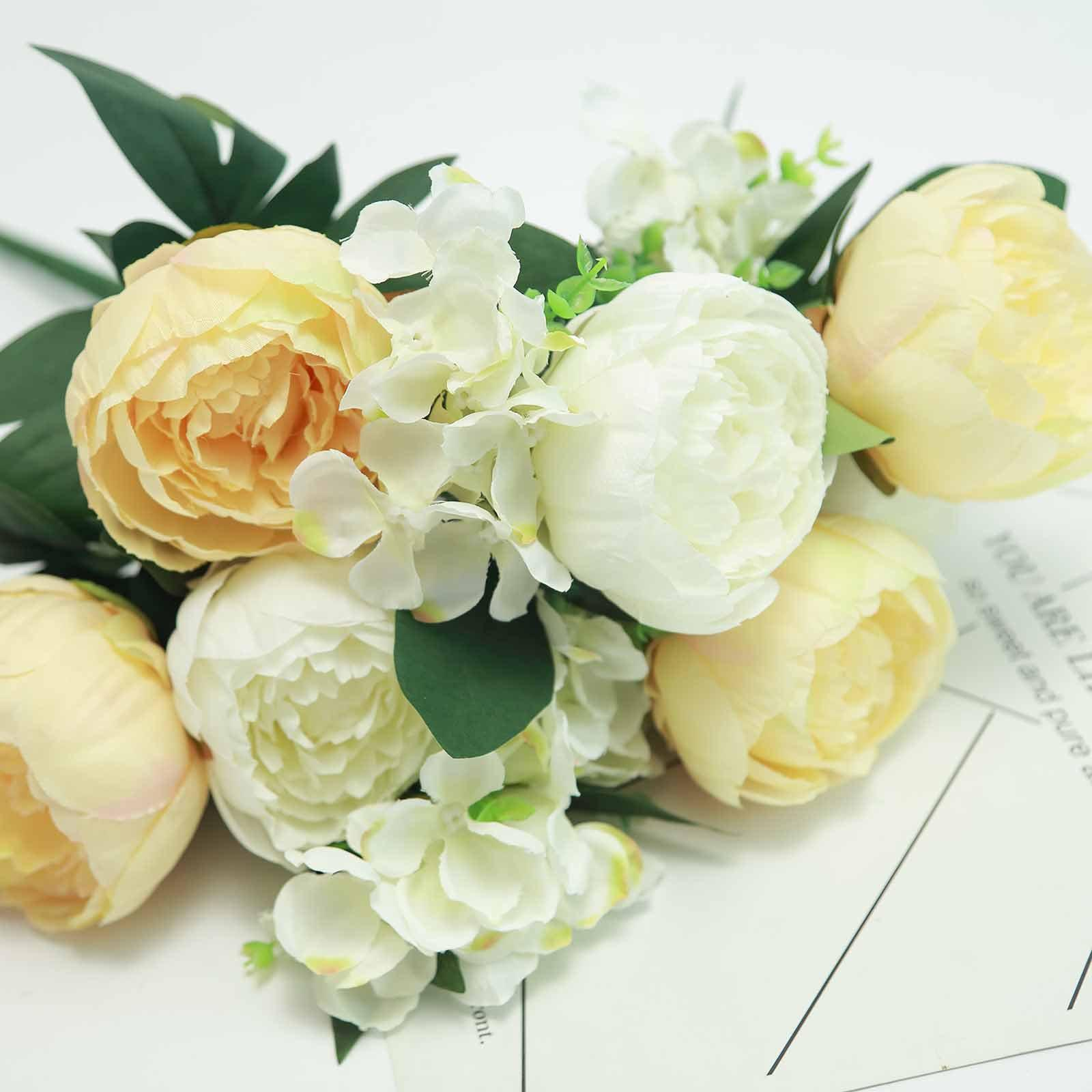 c70b4d9267 2 Bushes Light Yellow White Peony And Hydrangea Artificial Silk Flower  Bouquets