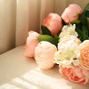 2 Bushes Light Blush | Rose Gold Peony And Hydrangea Artificial Silk Flower Bouquets