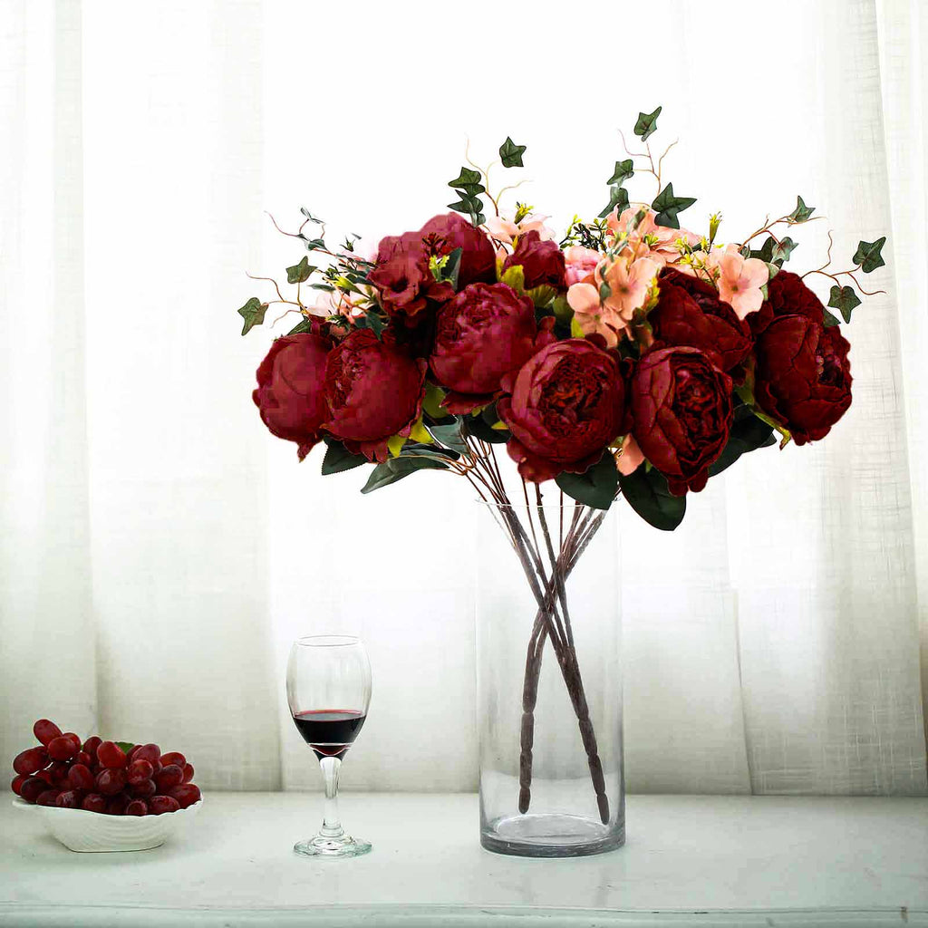 2 Bush Burgundy Peony Rose Bud And Hydrangea Real Touch Artificial Silk Flower Bouquets Tableclothsfactory