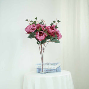 2 Bush  Purple Peony, Rose Bud And Hydrangea Real Touch Artificial Silk Flower Bouquets