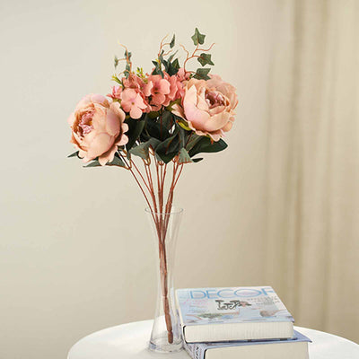2 Bush Blush | Rose Gold Peony, Rose Bud And Hydrangea Real Touch Silk Faux Peony Arrangements